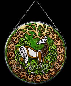HERNE STAG Stained Glass Celtic Art by Welsh artist Jen ...