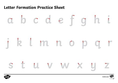 free handwriting letter formation worksheet