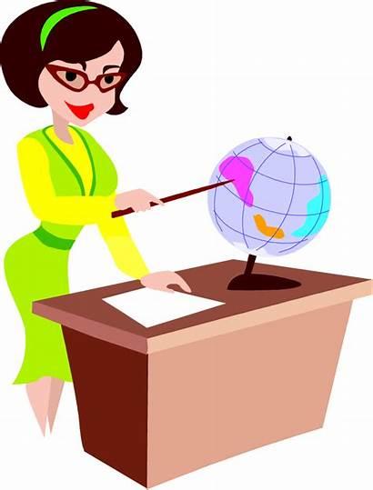 Teacher Clip Cartoon Clipart Education Animated Desk