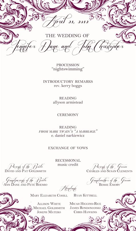 software  page wedding programs templates