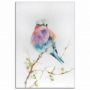 Paintings For Sale Colorful Bird Art 'Lilac Bird' Modern