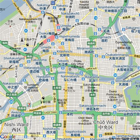 map  osaka japan hotels accommodation