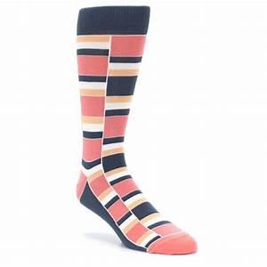 Coral Peach Stacked Men's Dress Socks Statement Sockwear