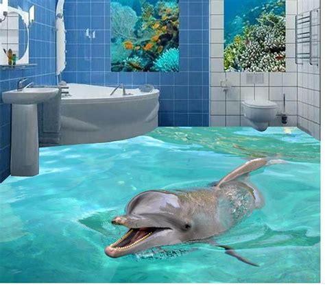 custom photo floor wallpaper  stereoscopic  dolphins