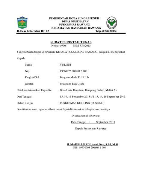 Contoh Surat Tugas Kedinasan by Surat Perintah Tugas Puskesmas Rawang Kota Sungai Penuh