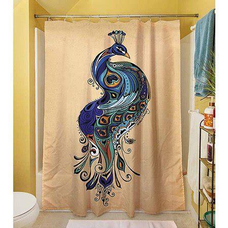 peacock shower curtain thumbprintz peacock shower curtain 71 quot x 74 quot walmart