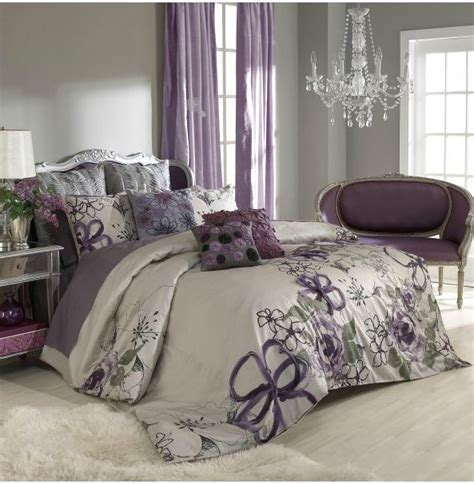 sage wall color purple curtainsbedspread bedroom