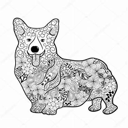 Corgi Dog Doodle Welsh Illustration Drawing Wreath