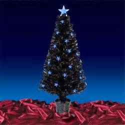 4ft 120cm black fibre optic artificial indoor christmas tree with blue led stars ebay