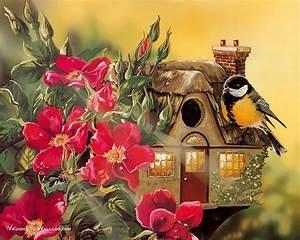 Birds Paintings : Beautiful Little Bird and Cute Birdhouse ...