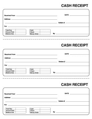 receipt template fill printable fillable blank