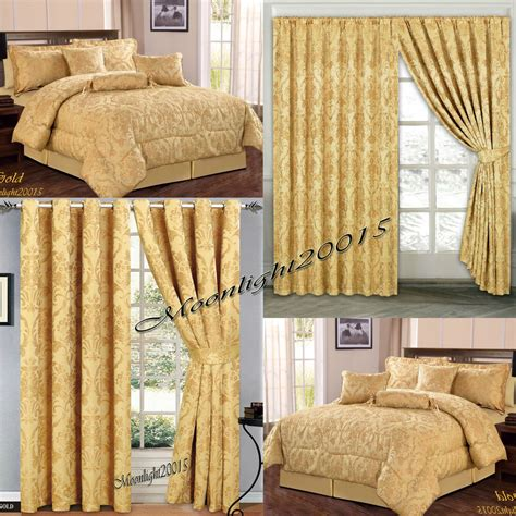 Bedspreads And Drapes - jacquard luxury 7 gold comforter set bedspread