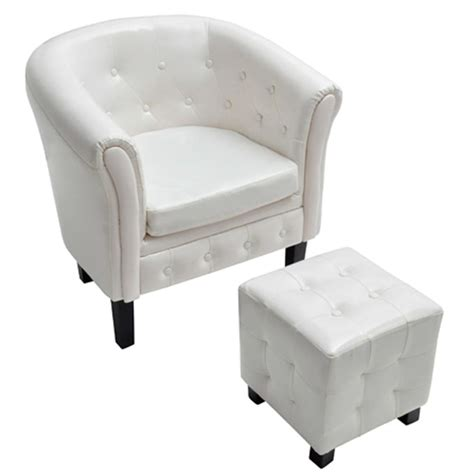 Armchair With Stool by Chesterfield Armchair With Stool White Www Vidaxl Au