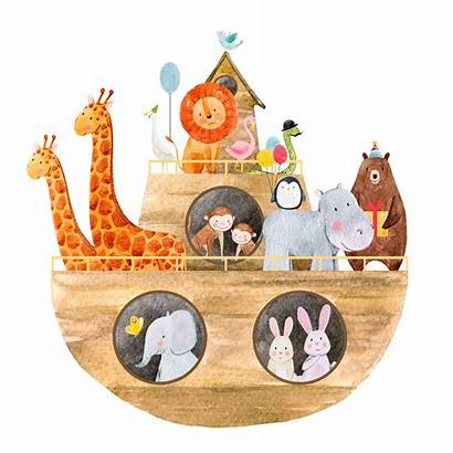 Ark Noah Clipart Animals Illustration Watercolor Noahs