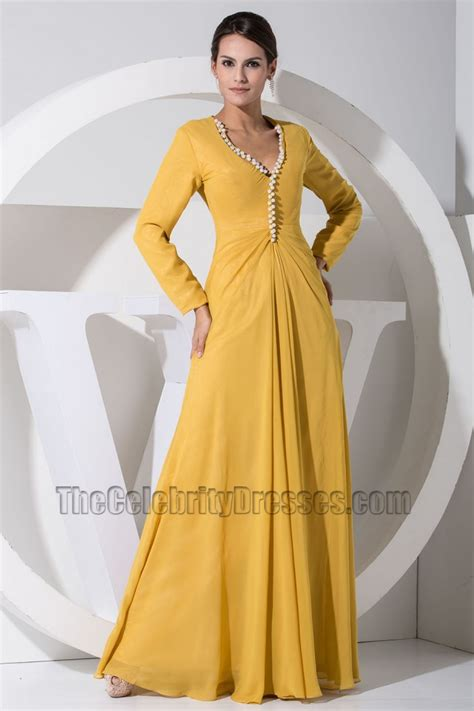Gorgeous Yellow Long Sleeve Prom Dress Formal Evening Dresses - TheCelebrityDresses