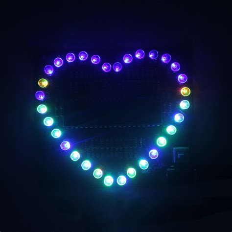 New Diy Kit Heartshaped Led Red Blue Colorful Light Water