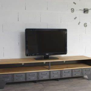 Meuble Tv Casier Industriel : industriel meuble tv m tal et bois tiroirs ~ Nature-et-papiers.com Idées de Décoration