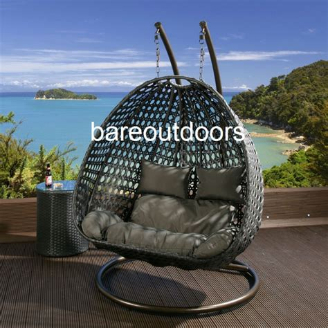 seater hanging pod chair black with grey cushions