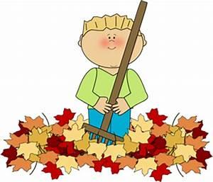 Boy Raking Leaves Clip Art - Boy Raking Leaves Image