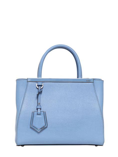 fendi mini  jours structured leather bag  light blue blue lyst