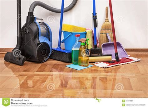 Cleaning Accessories On Floor Room Stock Photo   Image