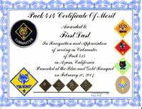 cub scout resources from pack 414 With cub scout certificate templates