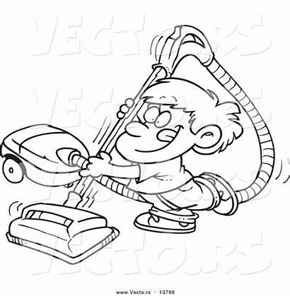 Vacuum Coloring Cleaner Cartoon Boy Outline Happy