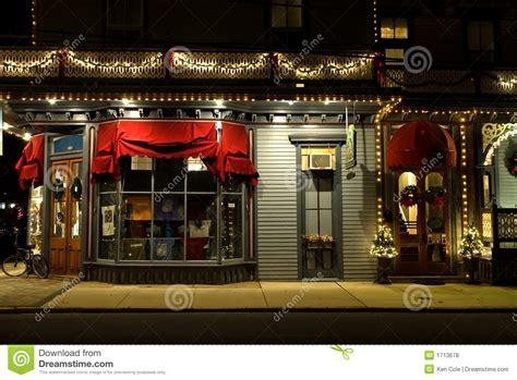 victorian storefront  christmas stock photo image  awning season