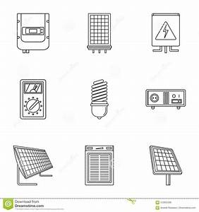 Electric Wiring Icons Set  Outline Style Stock Vector
