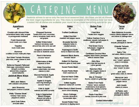 catering menu seabirds truck wedding rustic barnyard