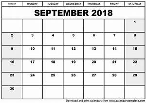 September 2018 Calendar Word | printable calendar weekly