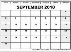 September 2018 Printable Calendar 2018 calendar printable
