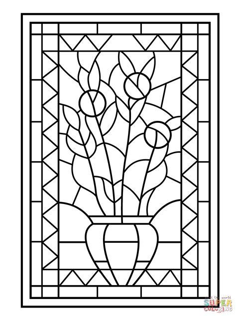 Coloriage Vitrail Color Dun Vase De Fleurs