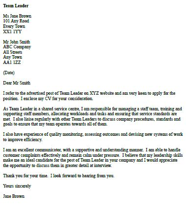 Cover Letter For A Team Leader Position cover letter for a team leader icover org uk