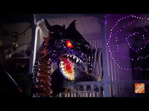 animated dragon  fogging  led eyes sold   home depot halloween  decorations