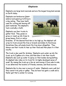 animal facts comprehension  close read passages