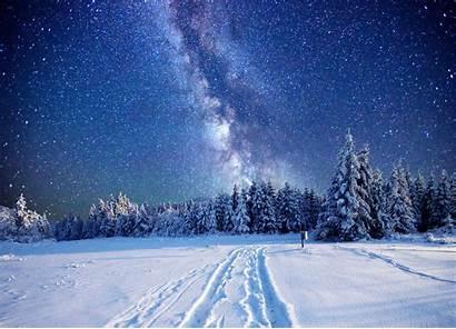 Snow Winter Landscape Pine Trees Stars Sky