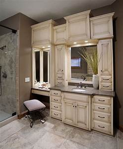 Custom Bathroom Vanities With Makeup Area - WoodWorking