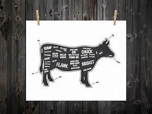 Cow Butcher Diagram Butcher Print Butcher Chart Cow