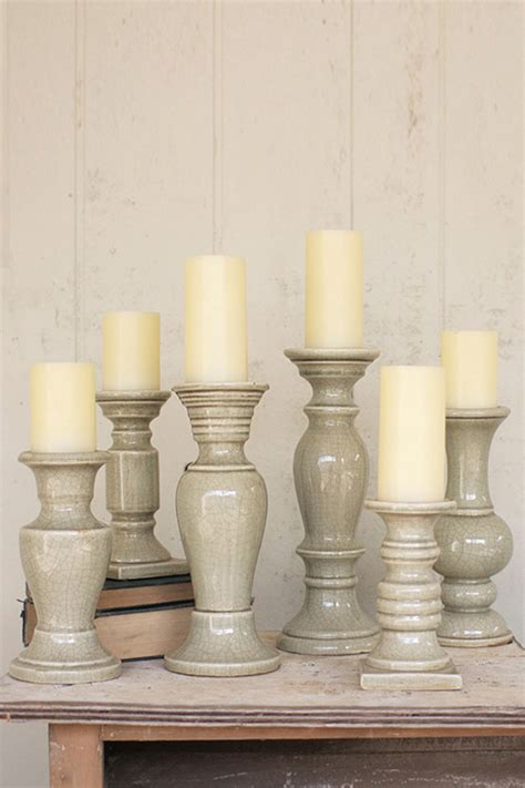 set   grey ceramic candle holders