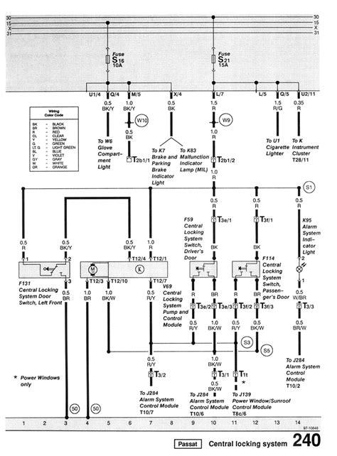 Passat Central Locking Wiring Diagram by фольксваген пассат б3 электрооборудование