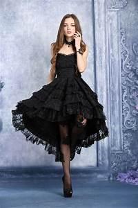 robe bustier noire mi longue bouffante dentelle fleurie With robe fleurie noire