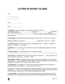 intent  hire letter  intent template  word
