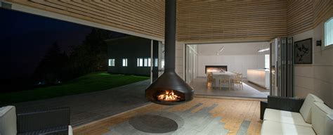 swiveling hanging fireplace serves  heat