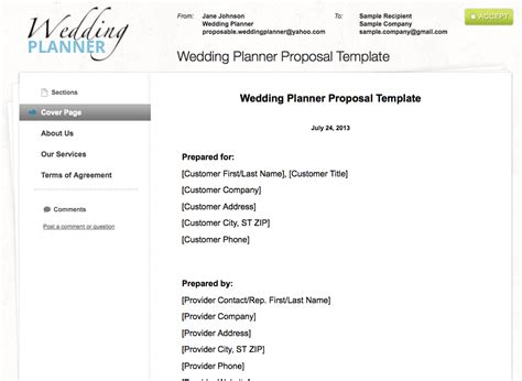 wedding planner quotation template planner template