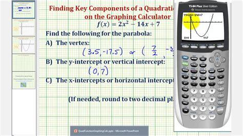 quadratic functions find vertex  intercepts   graphing calculator youtube