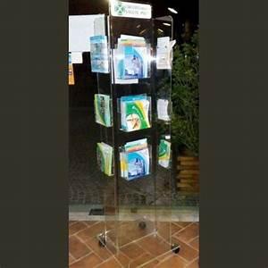 Portadepliant Plexiglass Da Terra Con Ruote