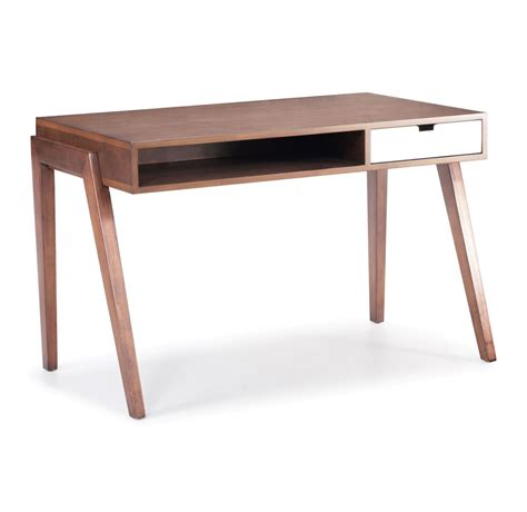 modern bureau zuo modern linea desk walnut 199054 modern furniture