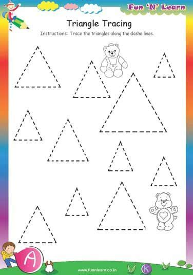 triangle tracing free worksheets for nursery aktivity