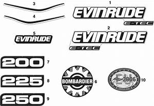 Evinrude Decals Blue Models Parts For 2005 250hp